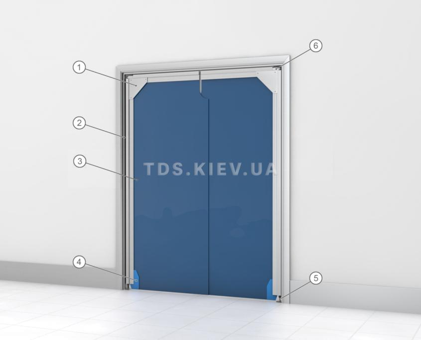 Схема мягкой распашной двери