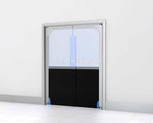 Ударная дверь с нижней частью из резинотканной ленты