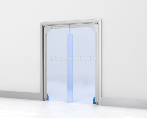 Прозрачная маятниковая дверь ПВХ